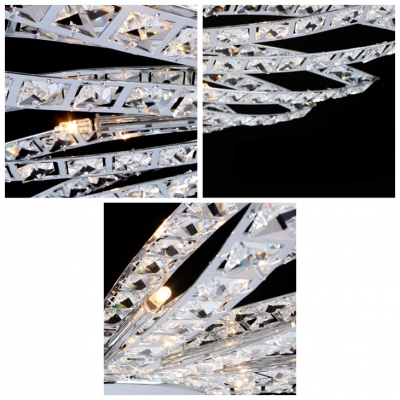 Flower Shaped Chrome Finished Pendant Light Embedded by Diamond Crystals