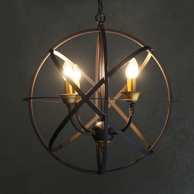 Industrial LED Orb Chandelier in Candelabra Style, Four light