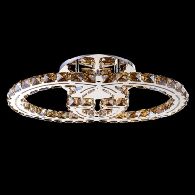 Gorgeous and Warm Amber Crystal Diamond Embedded Stainless Steel Rings Contemporary Flush Mount