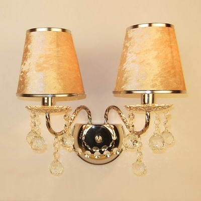 Graceful Curving Arms and Crystal Balls Add Charm to Stunning Fabric Shades Wall Sconce
