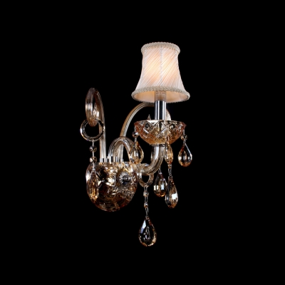 Graceful Scrolling Arms and White Fabric Shade Add Glamour to Luxury and Delightful Single-light Wall Sconce