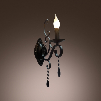 Handsome Traditional Wall Sconce Complete with Wrought Iron Arms and Clear Crystal Drops