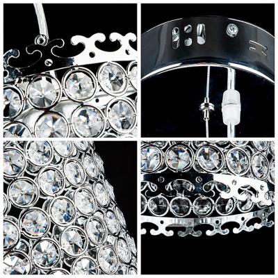 Modern Chrome Finished Cylindrical Shape and Sparkling Crystal Beaded Mini Pendant