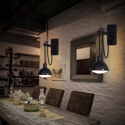 Industrial Iron Wall Light Black Finish 1 Light Wall Suspender for Warehouse Barn