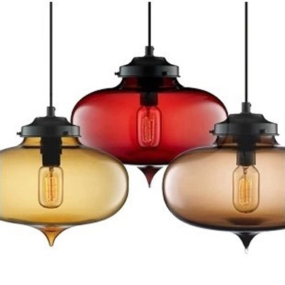 Oval Colored Glass LOFT Industrial Mini Suspension Pendant