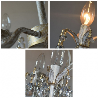 Scrolling Arms Dotted with Leaves Culminate in Beautiful Petal Flowers on 5-light Chandelier