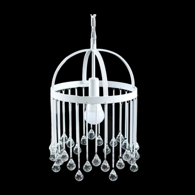 Single Light Elegant Design Metal Frame Lovely Cage Pendant Light Hanging Crystal Balls