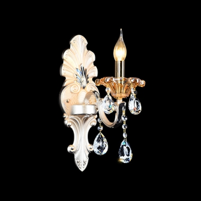 Single Light Wall Sconce Featured Zin Alloy Cream Panel Crystal Drops - Beautifulhalo.com
