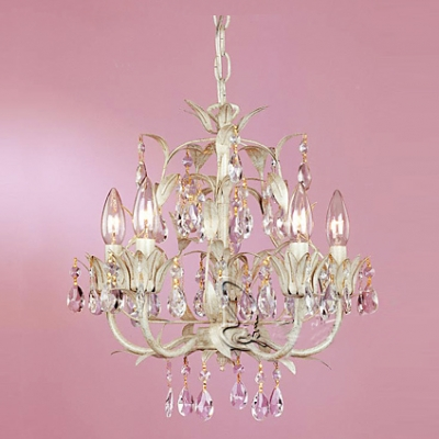 Soft And Chic White Finished Iron Branches And Leaves Crystal - Chandelier leaves crystals