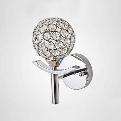 Striking Torch-like Single Light Beautiful Crystal Beads and Wrought Iron Frame Composed Lavish Wallchiere