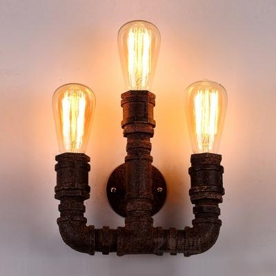 Three-light Rust Finished Vintage LOFT LED Wall Light, HL371058