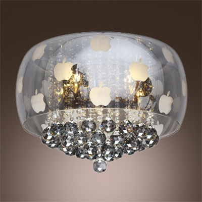 "Image of ""12.2""""High Smoky Colored Glass Bowl Shaded Flush Mount Hanging Shinning Small Crystal Globes"""