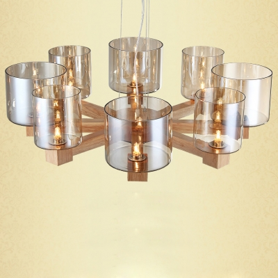 Wide Eight Light Wooden Frame And Glass Shade Chandelier 27.5""