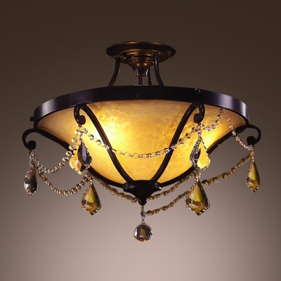 Amazing Semi Flush Ceiling Light Completed with Elegant Black Finish and Beautiful Clear Hand Cut Crystals