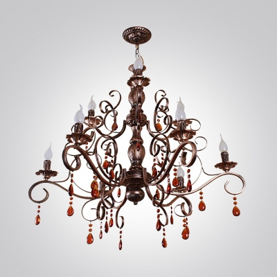 Beautiful Two-Tiered Antique Bronz Finished Large Crystal Droplets Chandelier