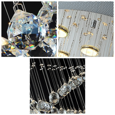 Bold Clear Crystal Spheres Cross Shinning Crystal Beads Contemporary Chandelier