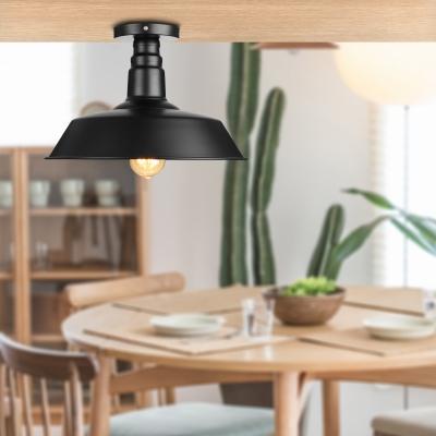 14'' Wide Semi Flush Ceiling Light in Barn Shade Textured Black Metal Single Ceiling Light for Kitchen Warehouse