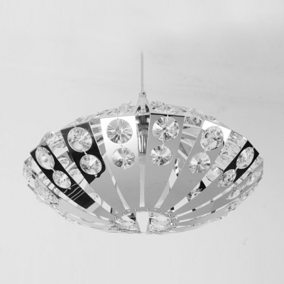 Chrome Finished Crystals Embedded Intriguing and Enchanting Oval Shade Modern Pendant