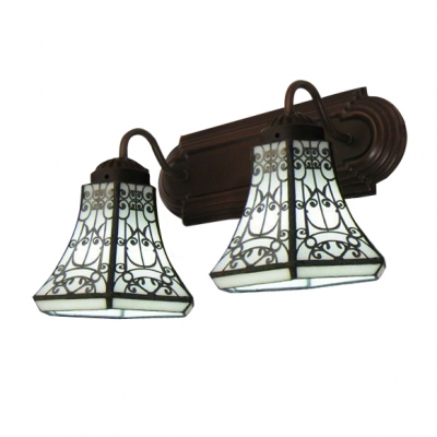 Clical Baroque Style Copper Finish Bathroom Lighting With Two Downward Shades