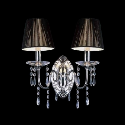 Delicate Oval Canopy Support Two-light Wall Sconce Highlights Chrome Finish and Draping Crystal