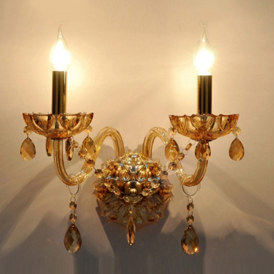 Elegant Refined Look Wall Sconce Features Hand-cut Crystals and Sleek Copper Finish Body