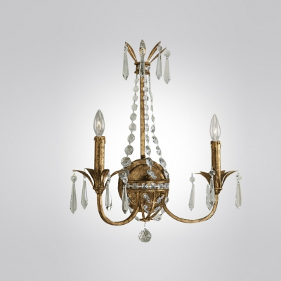 Elegant Scrolls and Graceful Scrollings Create Timeless Two-light Crystal Wall Sconce