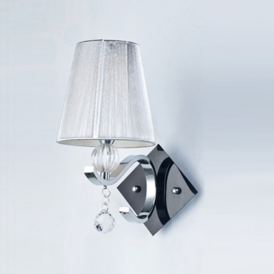Elegant Silver Silk Thread Shade And Chic Black Square Plate Made Single Light Wall Sconce Modern