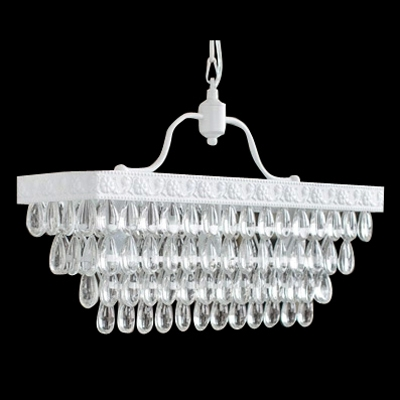 European Style 3- Lights Island Pendant Lighting Composed with White Finish Metal Frame and Crystal Drops