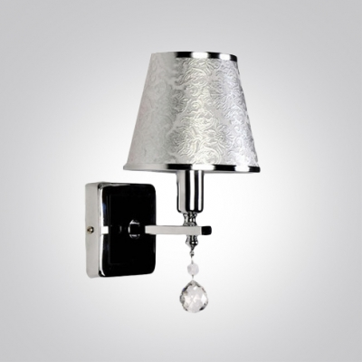 Exquisite Wall Sconce Features Delicate Silver Finish Adorned with Crystal Droplet Topped with Refined Fabric Shade
