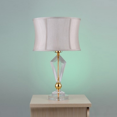 Gorgeous Gold Finish 24'' High Table Lamp Featuring Clear Crystal Center and Gray Fabric Shade