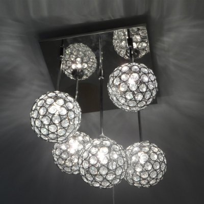 ... Gracefully 5-Light Crystal Globe Shades and Stainless Steel Canopy  Multi-Light Pendant