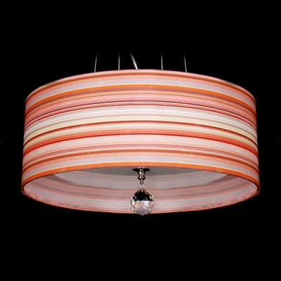 Magnificent Colorful Rainbow Stripe Modern Drum Shade Pendent Light Completed with Clear Crystal Drop