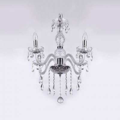 Majestic and Bold 4-light Chandelier Finished in Chrome Gleams with Clear Crystals