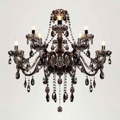 Majestic Double-Tiered 12-Light Smoky Strands of Crystal Bobeche and Pendants Chandelier
