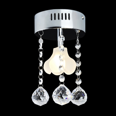 Mini Flush Mount Chandelier With Unique Fl Light And 3 Crystal Drops