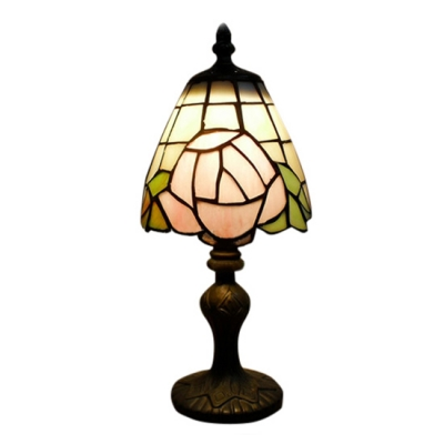Mini Romantic Rose Tiffany Table Lamp Fixture with Imperial Elegant Base