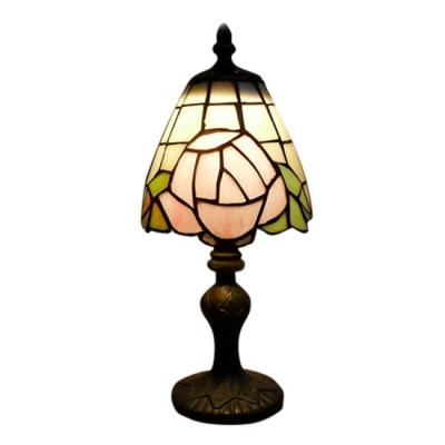 Mini Romantic Rose Tiffany Table Lamp Fixture with Imperial Elegant Base