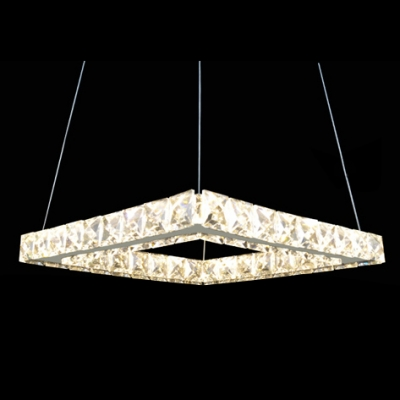 Modern and Elegant Square Large Pendant Light Accented by Hand Cut Crystal Beads
