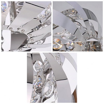 Pendant Chandelier Alive with Crystal Center and Gleaming Steel Accents Complete Sophisticated Look