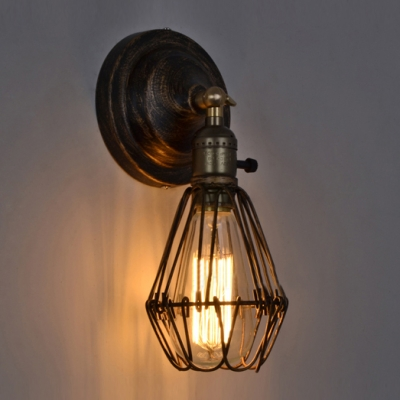 Retro Black Mini Bulb LED Wall Light in Loft Style