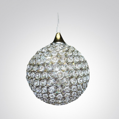 Round All Glistening Clear Crystal Beads Mini Pendant Lighting