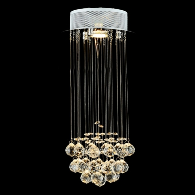 Round Stainless Steel Canopy Floating Crystal Ball 7.8\