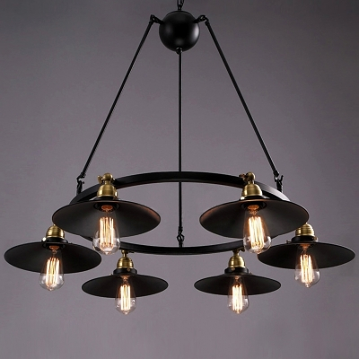 six light black wrought iron industrial multi light pendant light with rotatable cone shades_1427688370550 six light black wrought iron industrial multi light pendant light Wiring a Chandelier Diagram at eliteediting.co