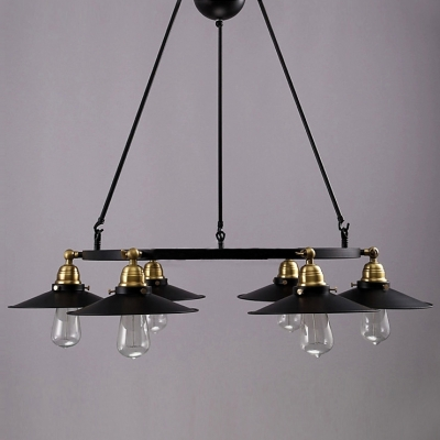 Six-Light Black Wrought Iron Industrial Multi-Light Chandelier Light with Rotatable Cone Shade