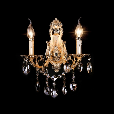 Sophisticated Candelabra Style Wall Light Fixture with Amber Crystal
