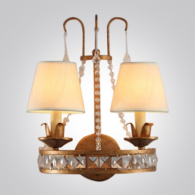 Sparkling Antique Brass and Clear Crystal Wall Sconce Offers Steely Modern Feel