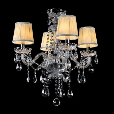 Sparkling Crystal and Classic Style Chandelier with  Beige Color Shades for Living Room