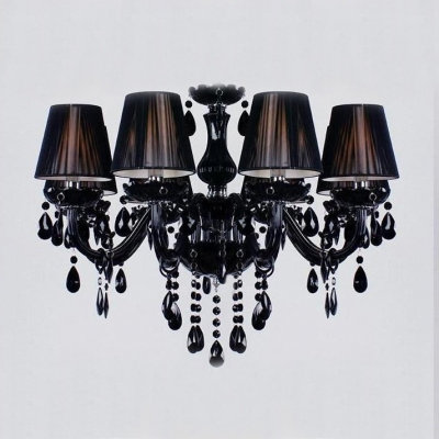 Traditional and Mysterious Jet Black Floral Bobeche Hanging Crystal Chandelier