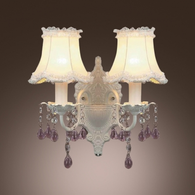 Two Candle-style Light Wall Scocnes Features Delicate White Finish and Beautiful Crystal Droplets