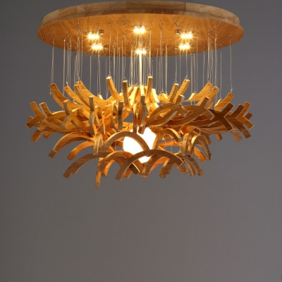 """round canopy hanging wooden sticks large pendant light 23.6""""wide 7"""